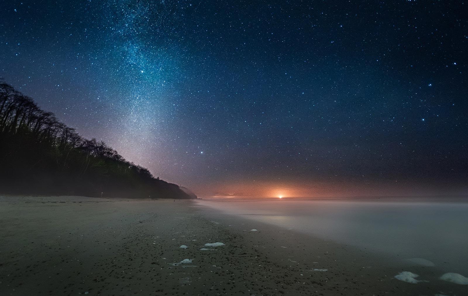 Nordlichter Fotograf Insel Usedom Ostsee Strand nacht Sterne Landschaft