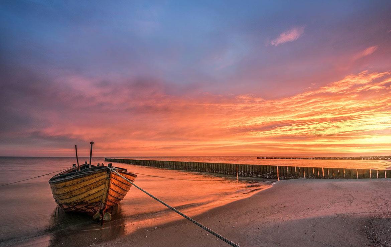 Fotograf Insel Usedom Ostsee Starnd Fischerboot Sonnenaufgang