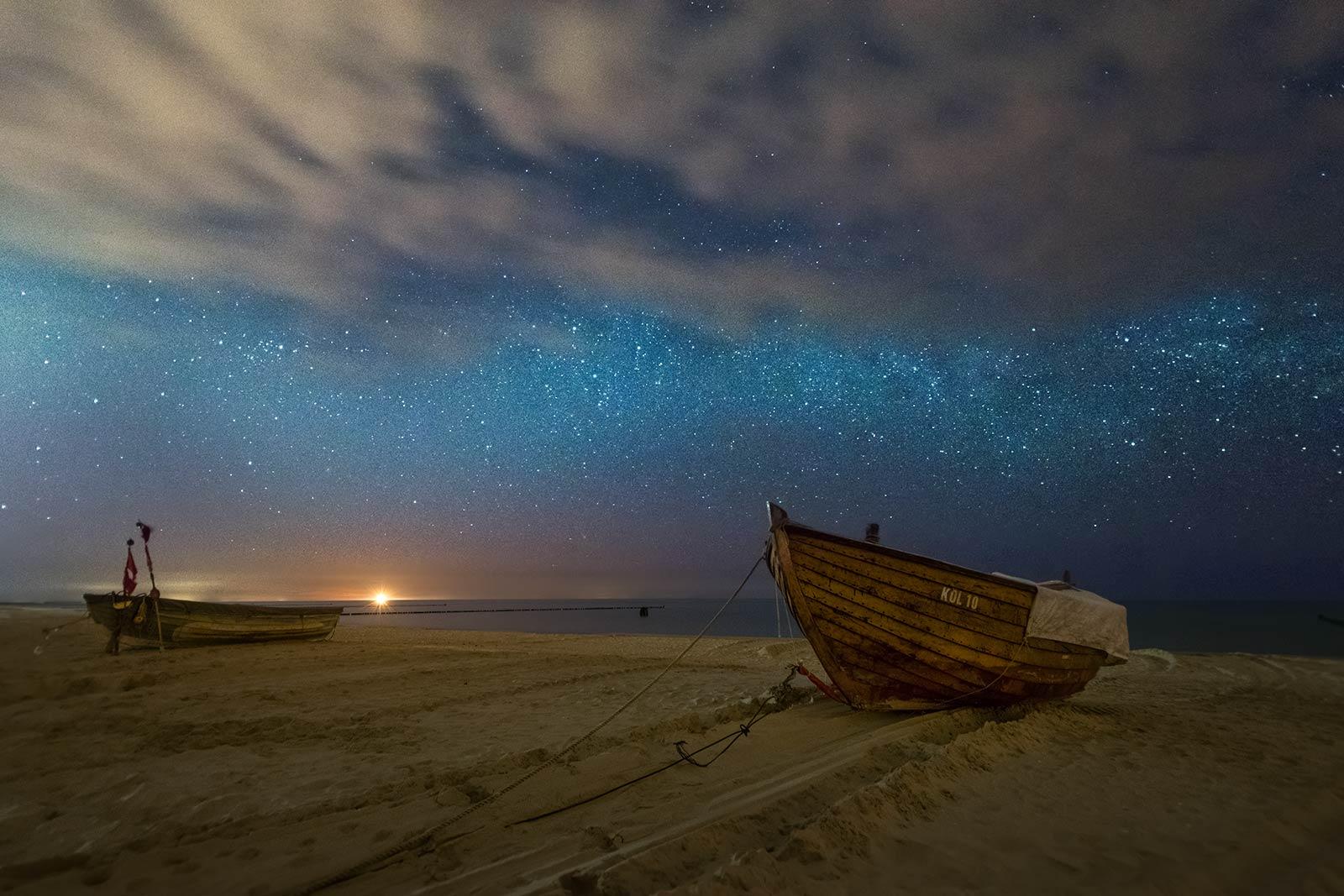 Nacht Ostsee Strand Insel Usedom Sterne Fischerboote
