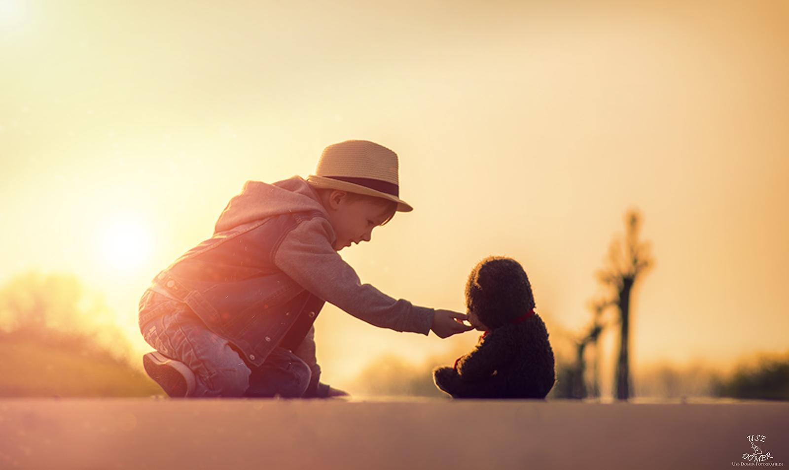 Porträtfoto Usedom Sonnenuntergang Shooting Kinder