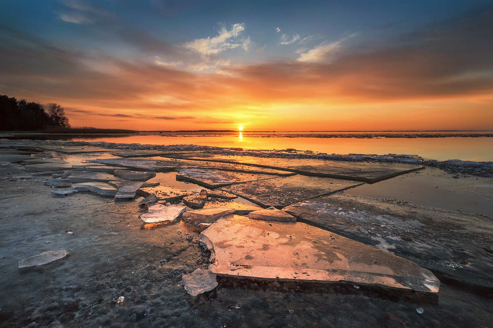 Sonnenuntergang Insel Usedom Achterwasser Strand