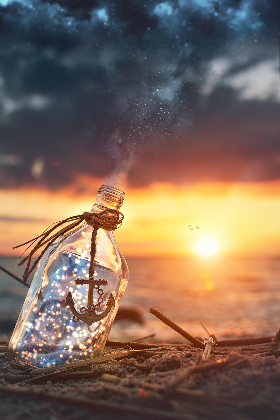 Digital Art Insel Usedom Maritim Flasche Sonnenuntergang